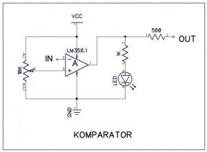 Gambar 2.3b Rangkaian untuk satu komparator. Satu komparator dapat digunakan untuk melayani satu atau lebih sensor garis, namun keluarannya hanya satu.